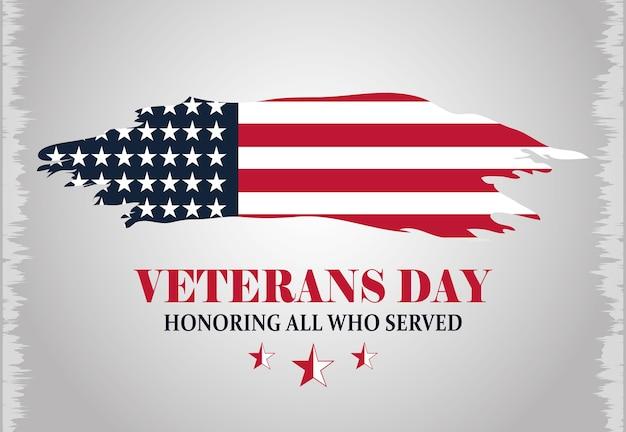 Glücklicher veteranentag, inschrift grunge amerikanische flagge, graue hintergrundvektorillustration