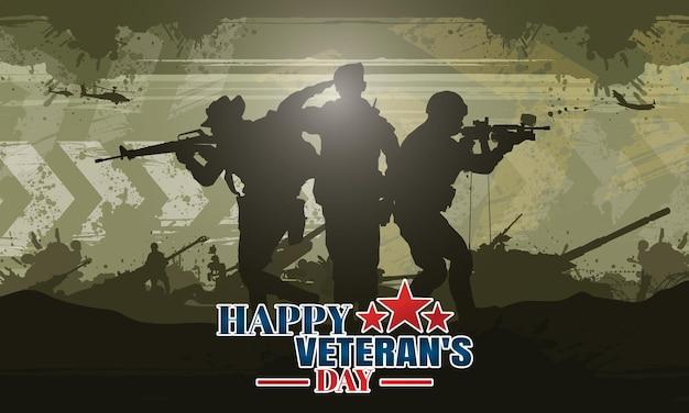 Glücklicher veteranentag militärische vektorillustration armee hintergrund soldaten silhouetten