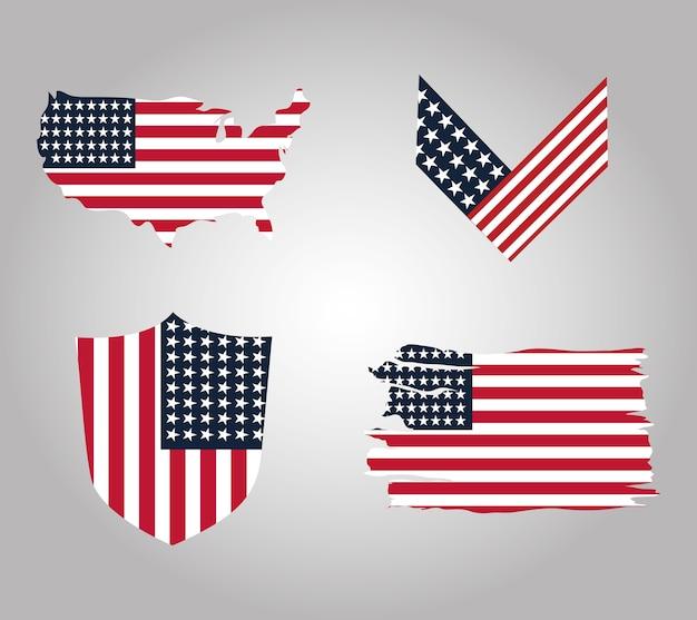 Glücklicher veteranentag, sammlung us-flaggenfeier patriotismus vektor-illustration