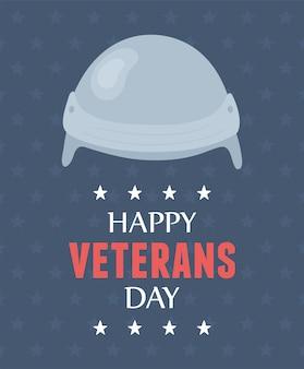 Glücklicher veteranentag, schutz der helmuniform, soldat der us-streitkräfte.