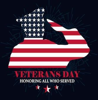 Glücklicher veteranentag, soldat, der geformte amerikanische flaggenvektorillustration salutiert