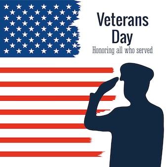 Glücklicher veteranentag, soldat grüßt amerikanische flaggenschmutzartillustration