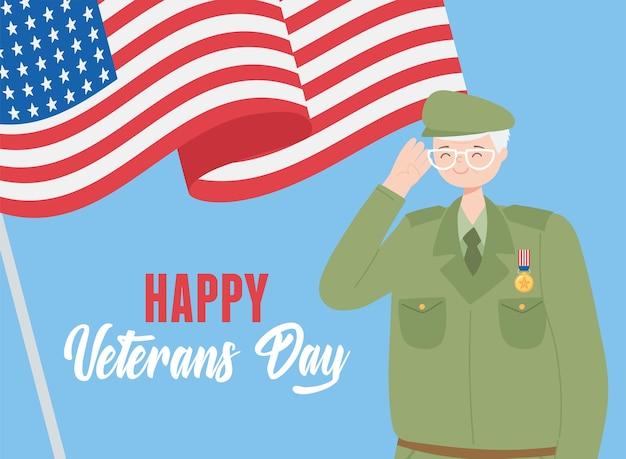 Glücklicher veteranentag, soldatcharakter der us-streitkräfte und wehende amerikanische flagge.