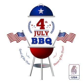 Glücklicher vierter juli. elemente bbq für amerikanischen unabhängigkeitstag auf weißem hintergrund