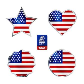 Glücklicher vierter juli. elemente eingestellt für amerikanischen unabhängigkeitstag auf weißem hintergrund