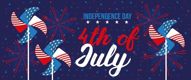 Glücklicher vierter juli. unabhängigkeitstag-kartenfahne