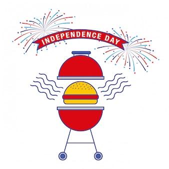 Glücklicher vierter juli. unabhängigkeitstagkarte mit grill