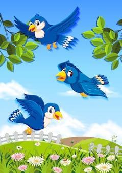 Glücklicher vogel in der natur