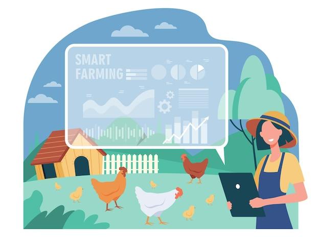 Glücklicher weiblicher bauer, der mit flacher illustration der intelligenten farm arbeitet