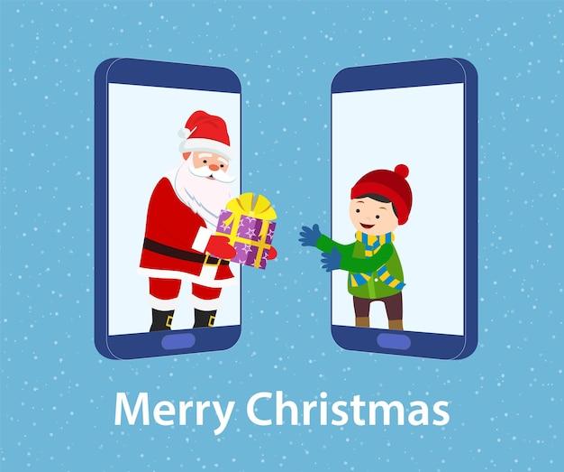 Glücklicher weihnachtsmann, der ein virtuelles geschenk gibt