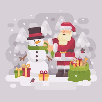 Glücklicher weihnachtsmann, der einem netten schneemann einen schal gibt. weihnachten flache abbildung