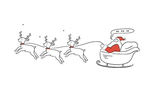 Glücklicher weihnachtsmann, der im schlitten mit rentieren, weihnachten, feiertagskonzept, handgezeichnete linie kunstartillustration fliegt.
