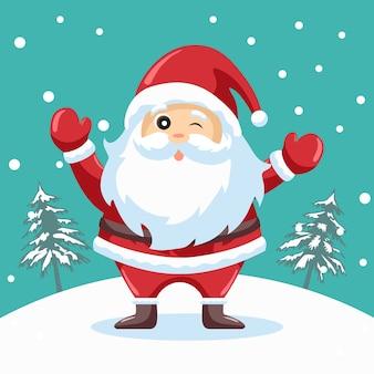 Glücklicher weihnachtsmann-entwurf für weihnachtskarte