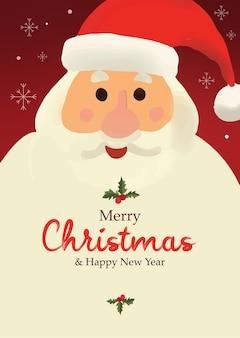 Glücklicher weihnachtsmann gesicht weihnachten hintergrund