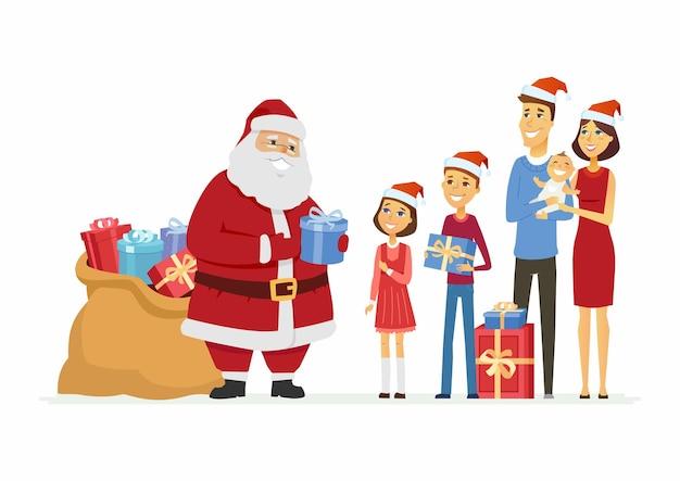 Glücklicher weihnachtsmann gratuliert einer familie - lokalisierte illustration der zeichentrickfilm-figuren auf weißem hintergrund. lächelnd väterchen frost mit einer tüte geschenke geben eltern und kindern geschenke. weihnachtskonzept