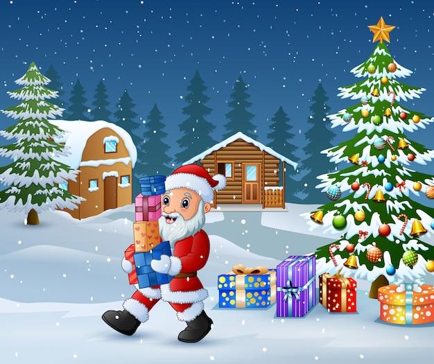 Glücklicher weihnachtsmann, halten geschenkboxen im weihnachten