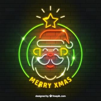 Glücklicher weihnachtsmann-hintergrund von neonlichtern