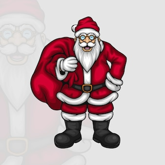 Glücklicher weihnachtsmann mit einer tasche voller geschenke