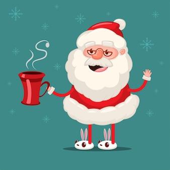 Glücklicher weihnachtsmann mit roter kaffeetasse. vektorweihnachtszeichentrickfilm-figur lokalisiert auf schneeflocken
