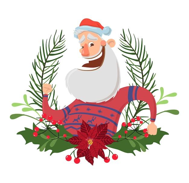 Glücklicher weihnachtsmanncharakter in einem weihnachtskranz. illustration, lokalisiert auf weißem hintergrund. santa im hirschpullover winkt hallo.
