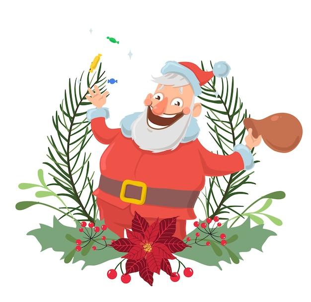 Glücklicher weihnachtsmanncharakter in einem weihnachtskranz lächelnd und winkende hand. , isoliert auf weißem hintergrund.