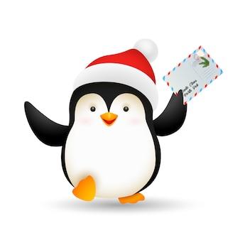 Glücklicher weihnachtspinguin, der postkarte hält