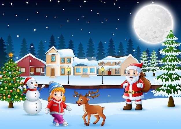 Glücklicher weihnachtstag im winter mit schneebedecktem dorfhintergrund