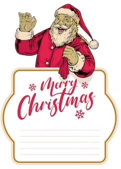 Glücklicher weinlese weihnachtsmann, der frohe weihnachten grüßt