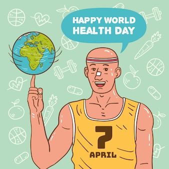 Glücklicher weltgesundheitstag mit mann, der basketball mit planet spielt