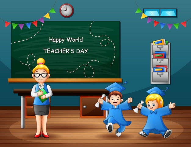 Glücklicher weltlehrertag mit abschlusskindern und lehrer