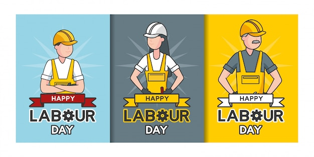 Glücklicher werktag, arbeiter, satz der arbeiterillustration
