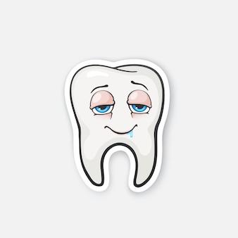 Glücklicher zahn betrunkener zahn mit augen mundhygiene vector illustration
