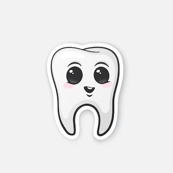 Glücklicher zahn mit augen und rouge mundhygiene vector illustration