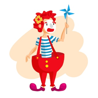 Glücklicher zirkusclown. karikaturillustration mann, der bälle jongliert. zirkusshow vintage-stil.