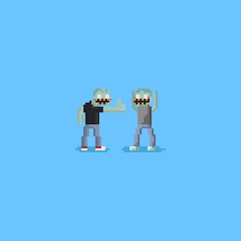 Glücklicher zombie des pixels