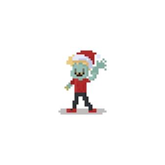Glücklicher zombiejunge des pixels, der sankt-hut trägt. weihnachten.8bit.