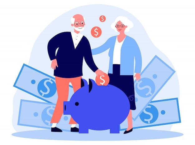 Glückliches älteres paar, das geld spart