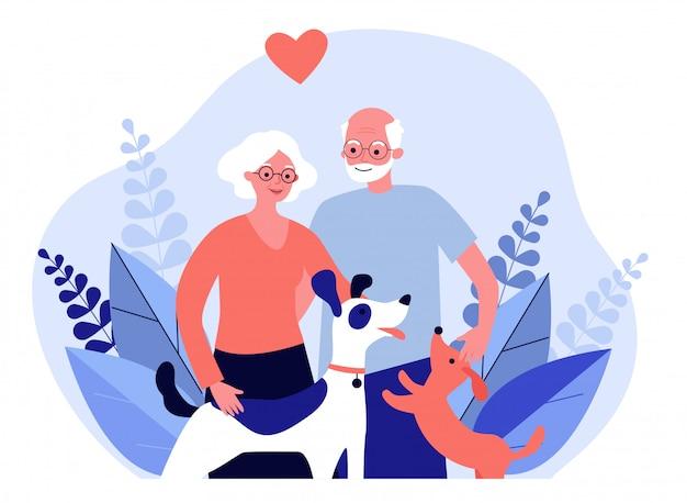 Glückliches älteres paar mit hunden