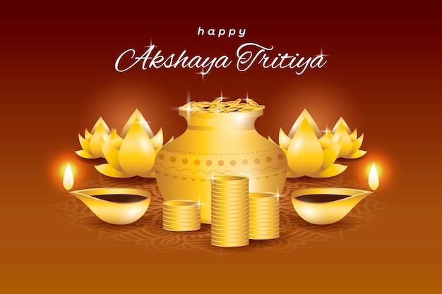 Glückliches akshaya tritiya mit überflusssymbolen