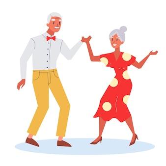Glückliches altes paar tanzen. senoir frau und alter mann