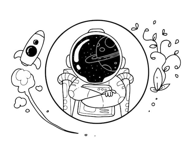 Glückliches astronautenkritzel