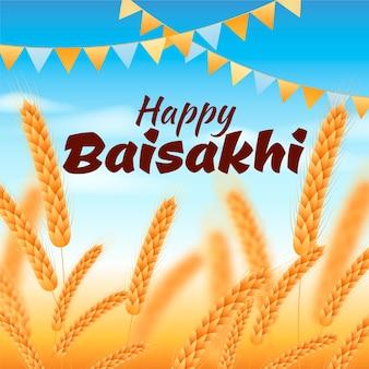 Glückliches baisakhi mit weizen