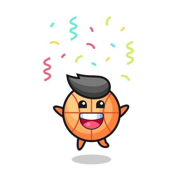 Glückliches basketball-maskottchen springen für glückwünsche mit farbkonfetti