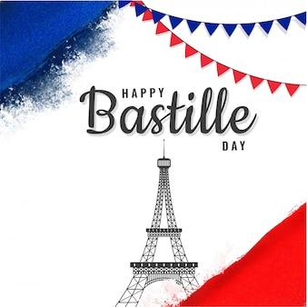 Glückliches bastille-tageskonzept mit eiffelturm- und flaggenflaggen auf blau