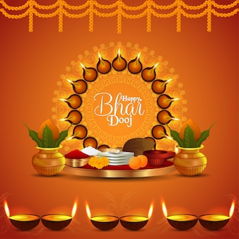 Glückliches bhai dooj kreatives puja thali und kalash und diya