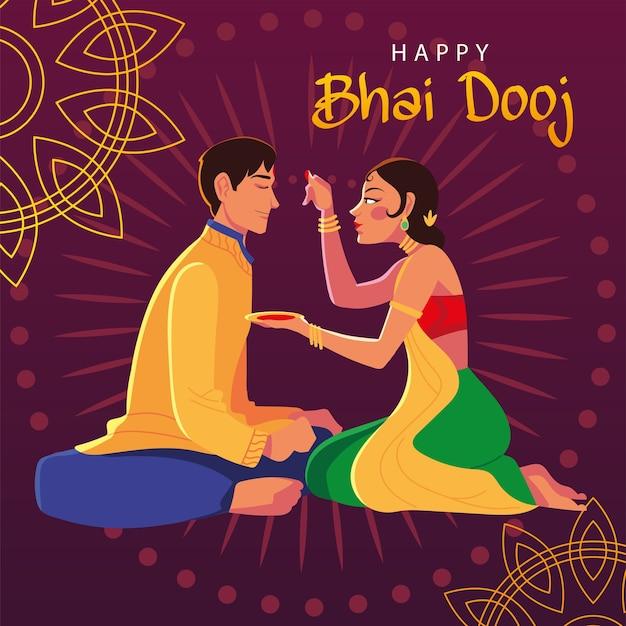Glückliches bhai dooj mit indischem mann und frau cartoon design, festival und feier thema