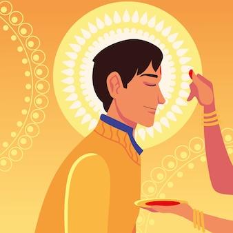 Glückliches bhai dooj mit indischem mannkarikatur mit weiblicher hand, die sein stirndesign, festival- und feierthema berührt