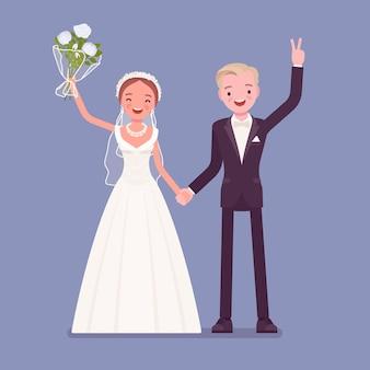 Glückliches brautpaar bei der hochzeitszeremonie
