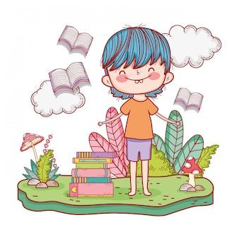 Glückliches buch des kleinen jungen leseim garten