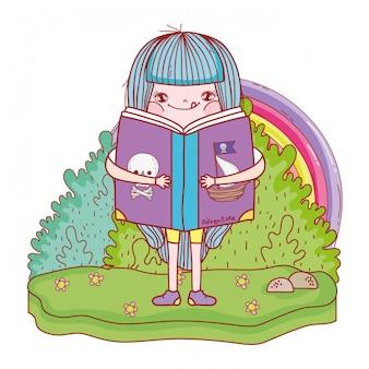 Glückliches buch des kleinen mädchens lese mit regenbogen